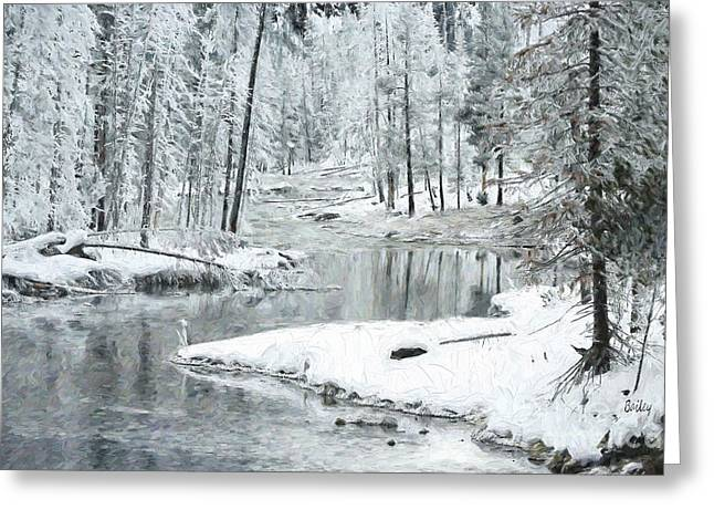 Greeting Cards - Icy Morning Greeting Card by Steve Bailey