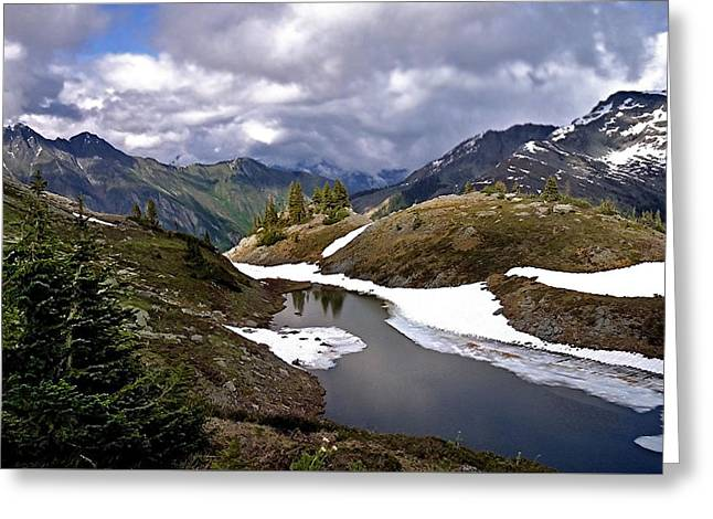 Blue And Green Greeting Cards - Icy River Valley Greeting Card by Martin Massari