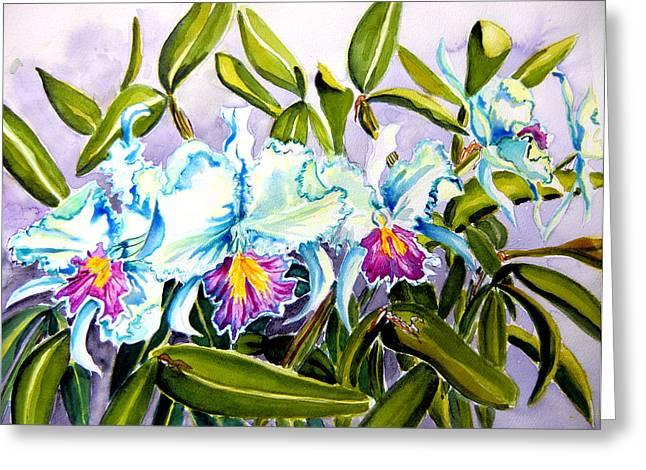 Cattleya Greeting Cards - Icy White Cattleyas Greeting Card by Helen Kern