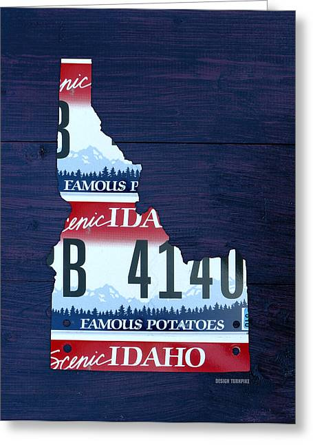 Idaho Greeting Cards - Idaho Famous Potatoes State License Plate Map Greeting Card by Design Turnpike