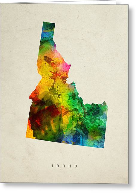 Montana State Map Greeting Cards - Idaho State Map 01 Greeting Card by Aged Pixel
