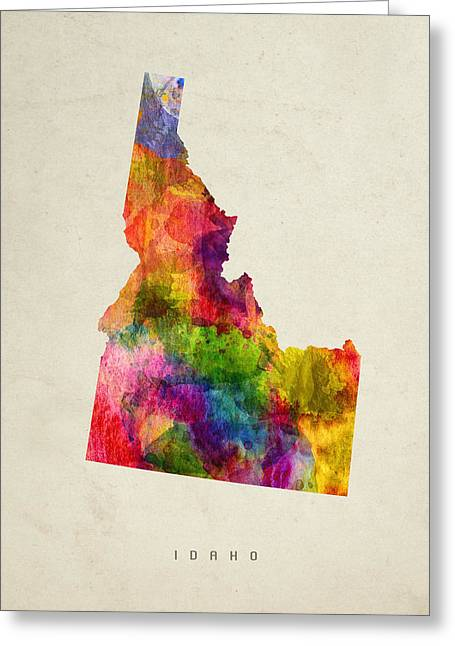 Montana State Map Greeting Cards - Idaho State Map 02 Greeting Card by Aged Pixel