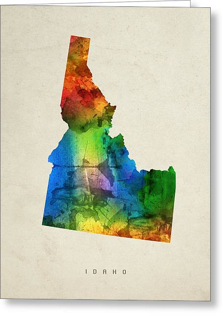 Montana State Map Greeting Cards - Idaho State Map 03 Greeting Card by Aged Pixel