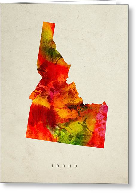 Montana State Map Greeting Cards - Idaho State Map 04 Greeting Card by Aged Pixel