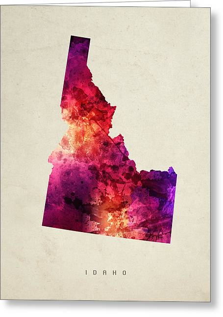 Montana State Map Greeting Cards - Idaho State Map 05 Greeting Card by Aged Pixel