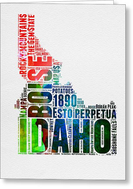 4th July Greeting Cards - Idaho Watercolor Word Cloud  Greeting Card by Naxart Studio