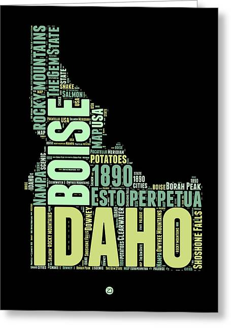 4th July Greeting Cards - Idaho Word Cloud 1 Greeting Card by Naxart Studio