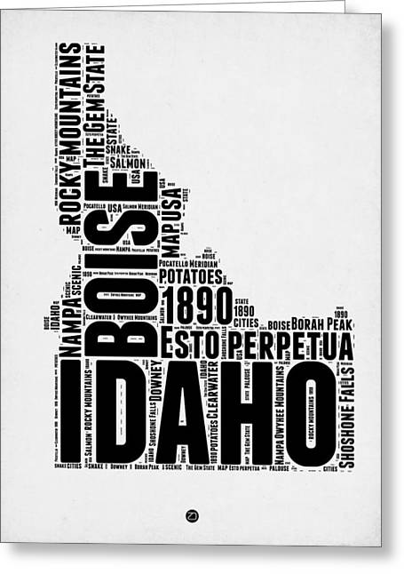 4th July Greeting Cards - Idaho Word Cloud 2 Greeting Card by Naxart Studio
