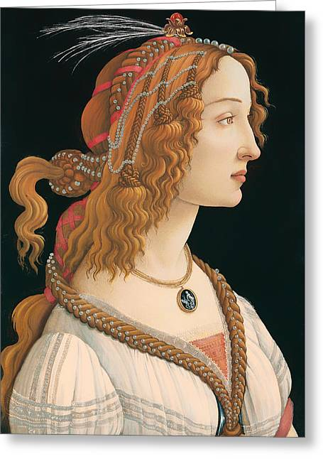 Idealized Greeting Cards - Idealized Portrait Of A Woman Greeting Card by Sandro Botticelli