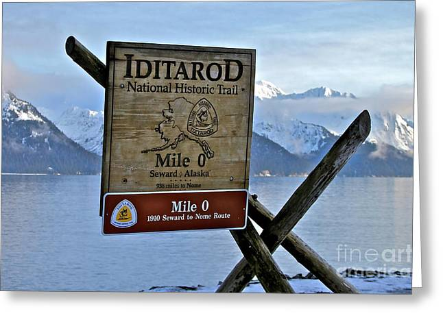 Mile Marker Greeting Cards - Iditarod Greeting Card by Rick  Monyahan