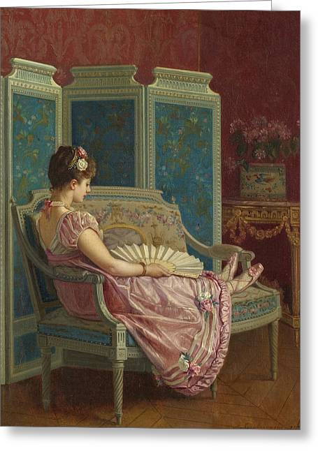 Idle Thoughts Greeting Card by Auguste Toulmouche