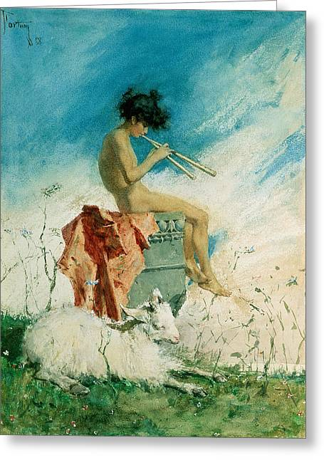 Youthful Greeting Cards - Idyll Greeting Card by Mariano Fortuny y Marsal