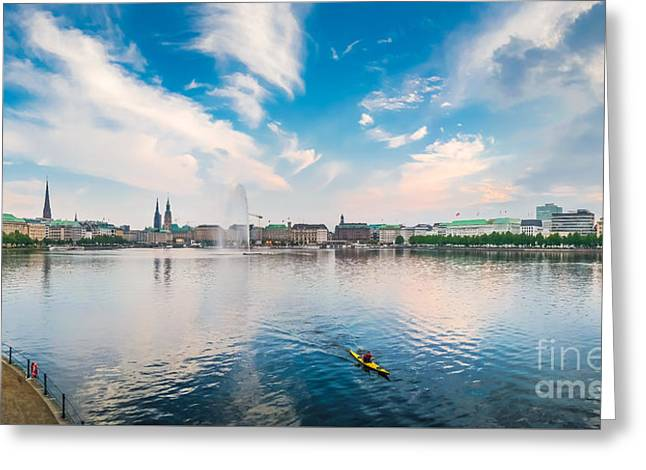 Historic Architecture Greeting Cards - Idyllic Binnenalster in golden evening light at sunset, Hamburg, Germany Greeting Card by JR Photography