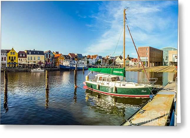 North Sea Greeting Cards - Idyllic North Sea Town of Husum Greeting Card by JR Photography