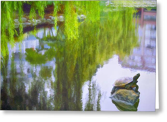 Weeping Greeting Cards - Idyllic Pond Greeting Card by Claude LeTien