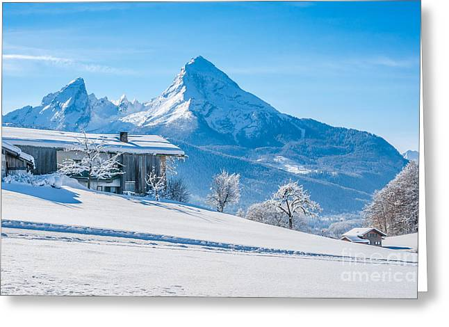 Swiss Photographs Greeting Cards - Idyllic winter landscape in the Bavarian Alps Greeting Card by JR Photography