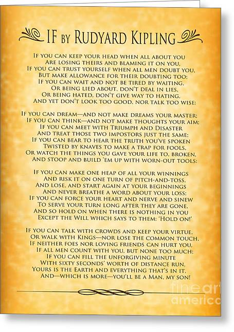 If By Rudyard Kipling - Gold Design Greeting Card by Ginny Gaura