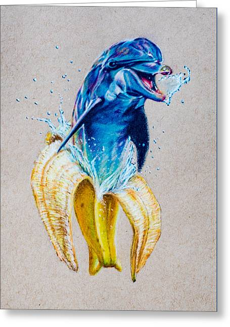 Aquatic Greeting Cards - If Dolphins Came From Banana Peels Greeting Card by Brian Owens