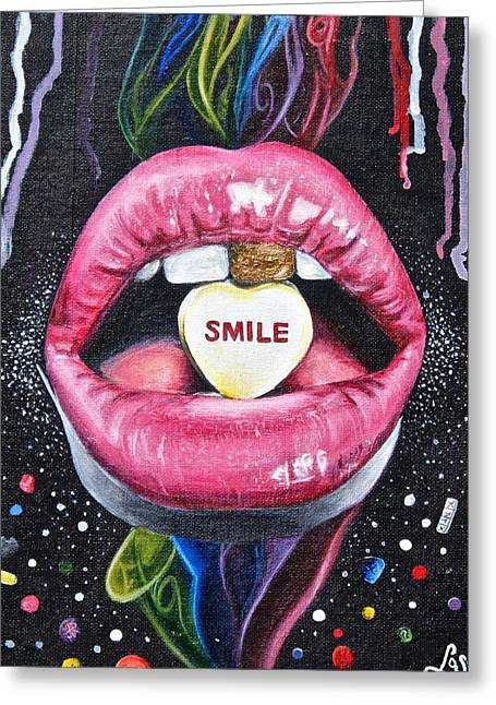 Pill Paintings Greeting Cards - If lips could kill Greeting Card by Chloe Gertz