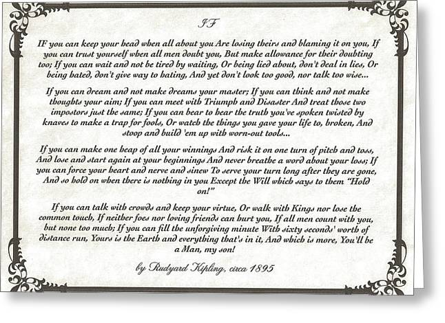 Poem Greeting Cards - IF Poem by Rudyard Kipling Greeting Card by Desiderata Gallery