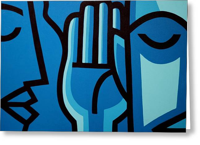 Blue Face Greeting Cards - If You Listen You Can Hear II Greeting Card by John  Nolan