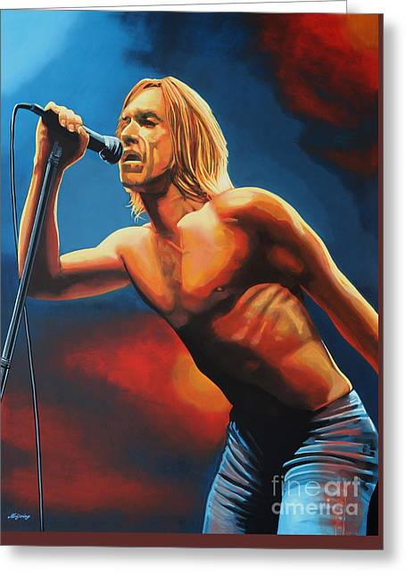 Iggy Pop Painting Greeting Card by Paul Meijering