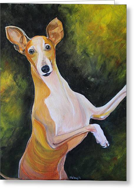 Head Stand Paintings Greeting Cards - Iggy Greeting Card by Sonya Delaney