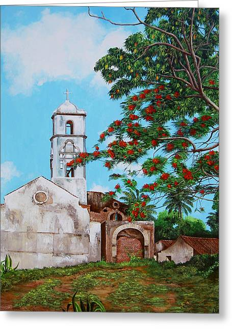 Dominica Alcantara Greeting Cards - Iglesia de Santa Anna Greeting Card by Dominica Alcantara