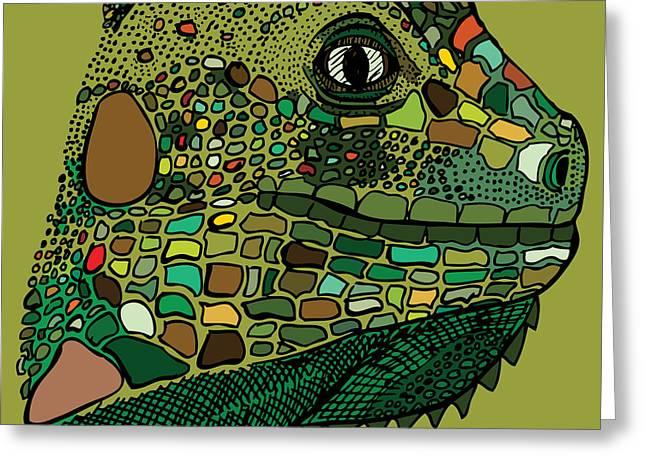 Lizard Illustration Greeting Cards - Iguana - Color Greeting Card by Karl Addison