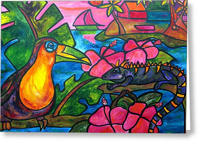 Caribbean Sea Paintings Greeting Cards - Iguana Eco Tour Greeting Card by Patti Schermerhorn