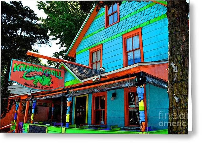 Gay Bar Paintings Greeting Cards - Iguana Grill Greeting Card by Jost Houk