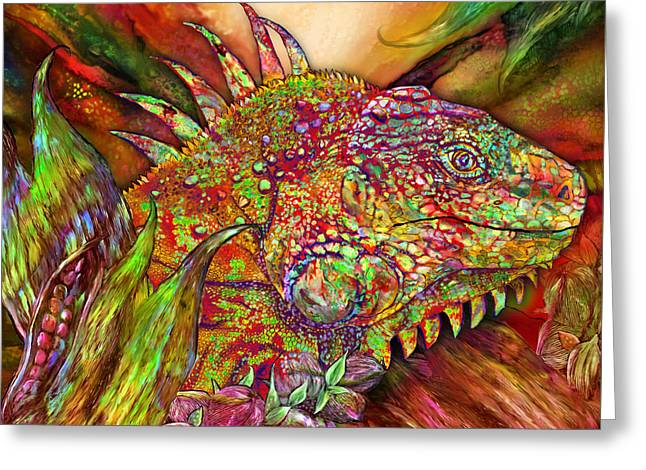 Iguana Hot Greeting Card by Carol Cavalaris