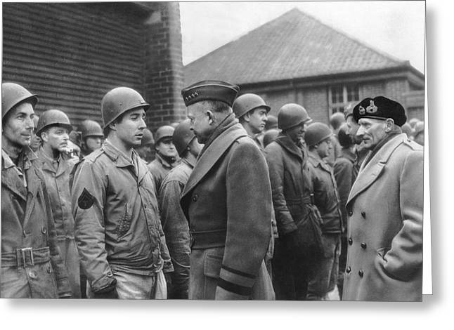 Ike Checks Invasion Forces Greeting Card by Underwood Archives