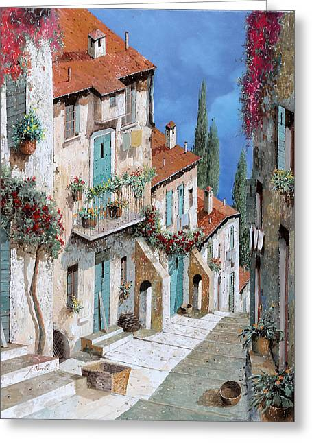 Summer Vacation Greeting Cards - Il Balcone Fiorito Greeting Card by Guido Borelli