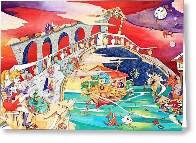 Italy Pyrography Greeting Cards - Il Battello dei Sogni - Ponte di Rialto Greeting Card by Arte Venezia