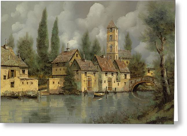 Tower Greeting Cards - Il Borgo Sul Fiume Greeting Card by Guido Borelli