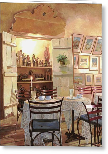 Wine Room Greeting Cards - Il Caffe Dellarmadio Greeting Card by Guido Borelli