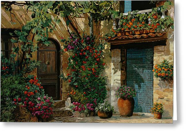 Landscape. Scenic Paintings Greeting Cards - Il Giardino Francese Greeting Card by Guido Borelli