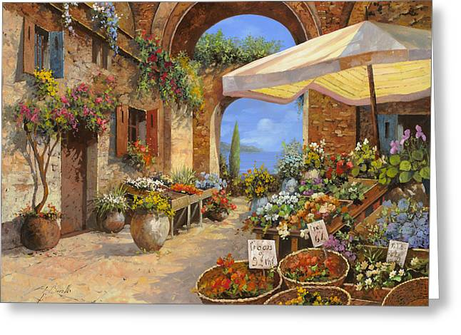 Vegetables Paintings Greeting Cards - Il Mercato Del Lago Greeting Card by Guido Borelli