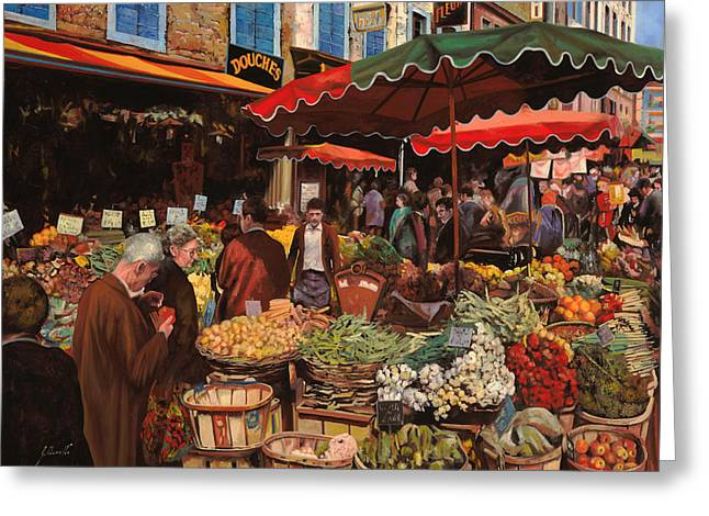 Vegetable Basket Greeting Cards - Il Mercato Di Quartiere Greeting Card by Guido Borelli