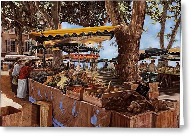 il mercato di St Paul Greeting Card by Guido Borelli