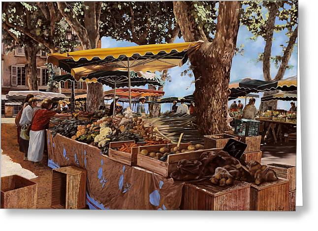 Street Market Greeting Cards - il mercato di St Paul Greeting Card by Guido Borelli