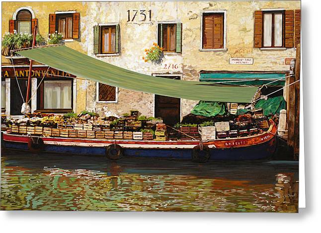 Vegetable Greeting Cards - il mercato galleggiante a Venezia Greeting Card by Guido Borelli