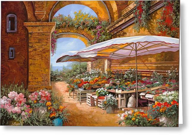 il mercato sotto i portici Greeting Card by Guido Borelli
