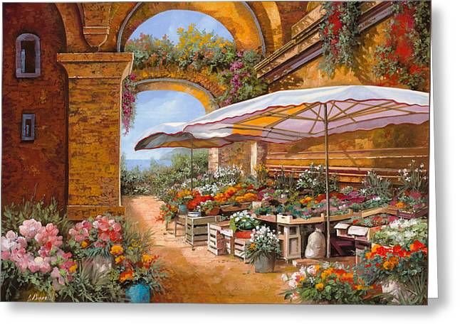 Umbrella Greeting Cards - Il Mercato Sotto I Portici Greeting Card by Guido Borelli