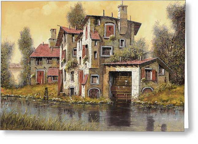 Water Mill Greeting Cards - Il Mulino Giallo Greeting Card by Guido Borelli