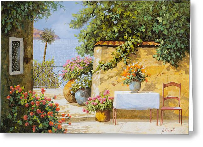 Terrace Greeting Cards - Il Muretto E Il Mare Greeting Card by Guido Borelli