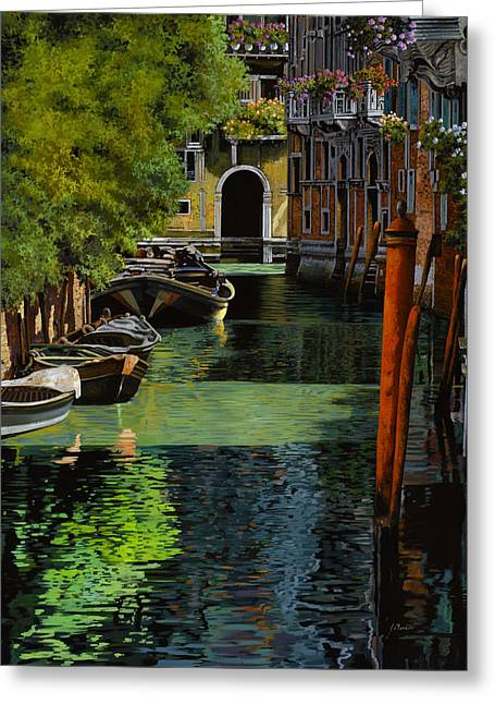 Canal Greeting Cards - il palo rosso a Venezia Greeting Card by Guido Borelli
