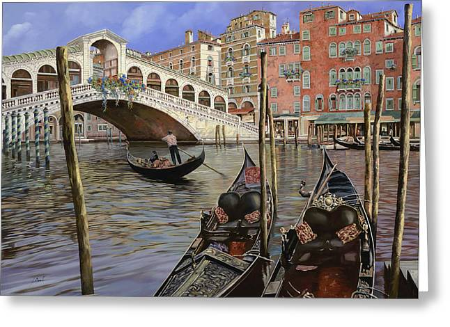Il Ponte Di Rialto Greeting Card by Guido Borelli