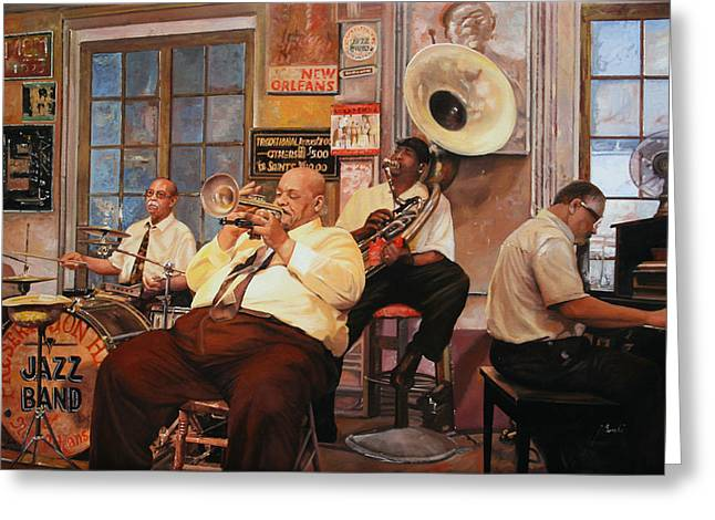 Sax Greeting Cards - Il Quintetto Greeting Card by Guido Borelli